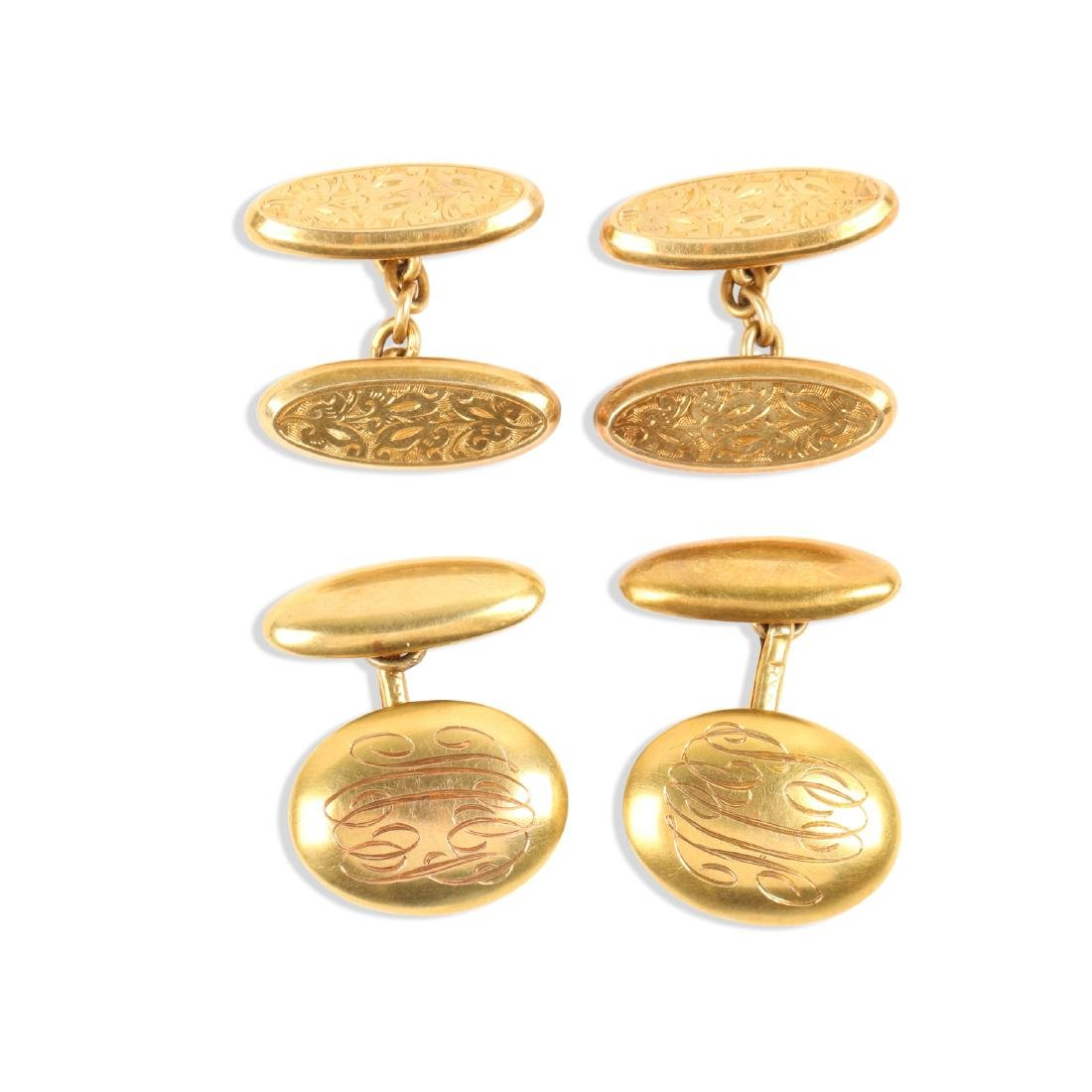 A Pair, 14K-18K Gold Cufflinks