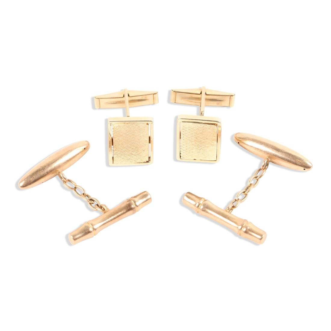 2 Pairs, 10K-15K Gold Cufflinks