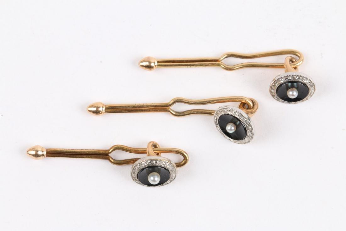 Krementz, 14K Gold, Onyx & Pearl Cufflinks Set - 3