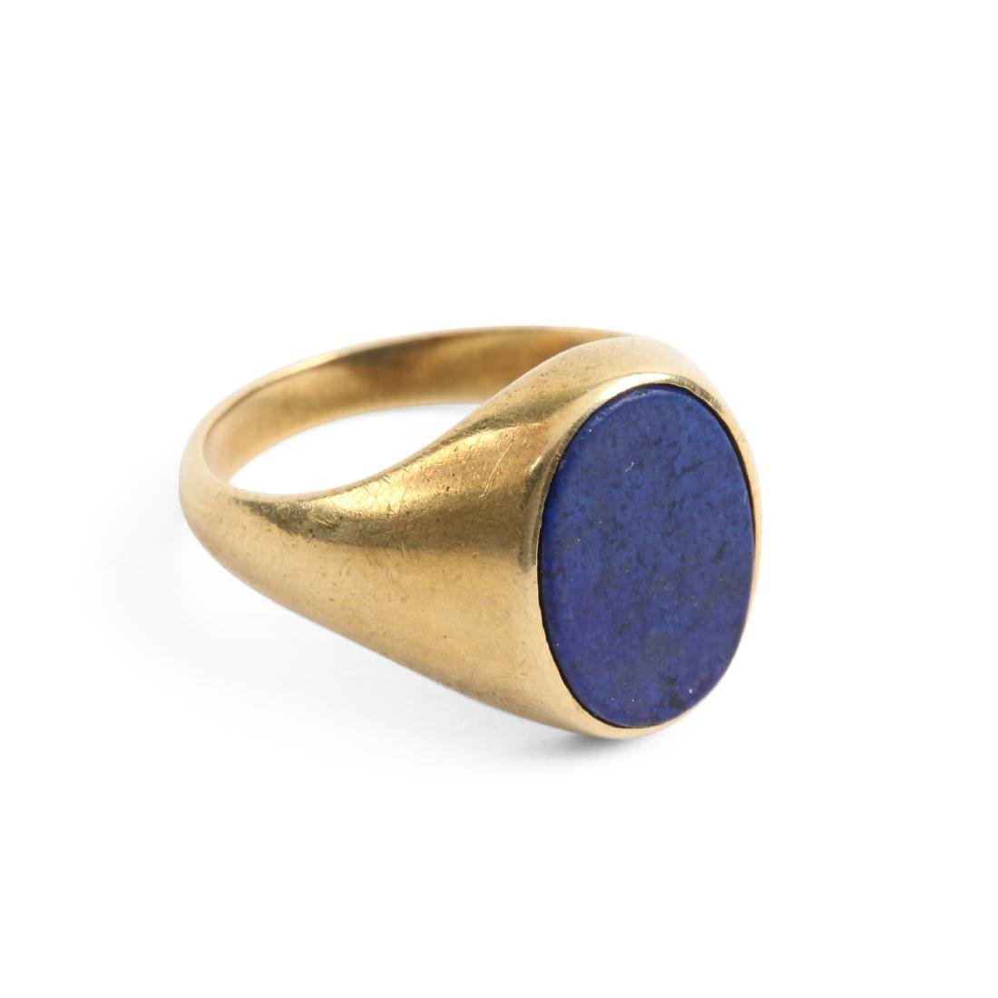 A 14K & Lapis Lazuli Dinner Ring