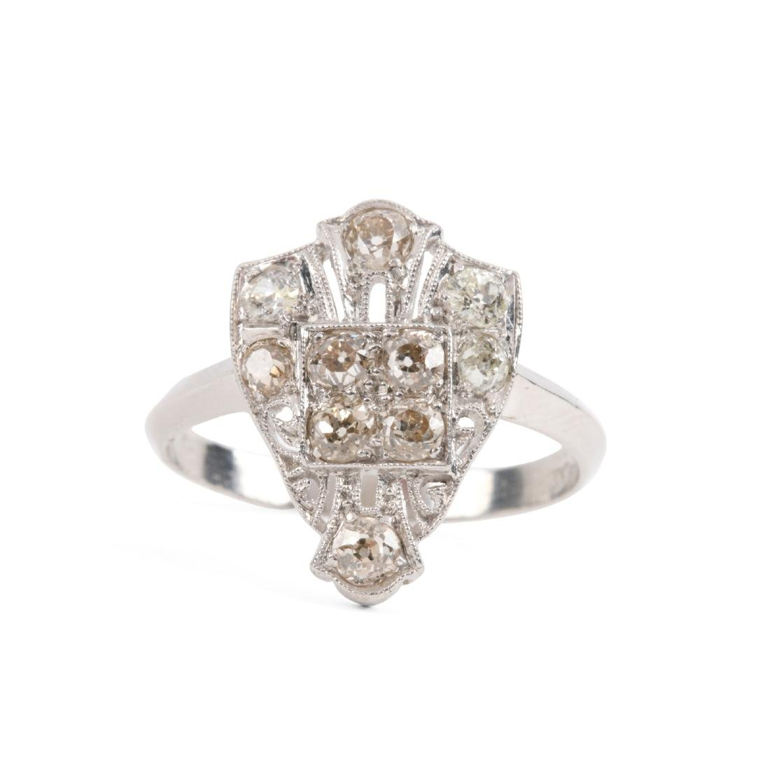 A Platinum & Old Mine Cut Diamond Ring