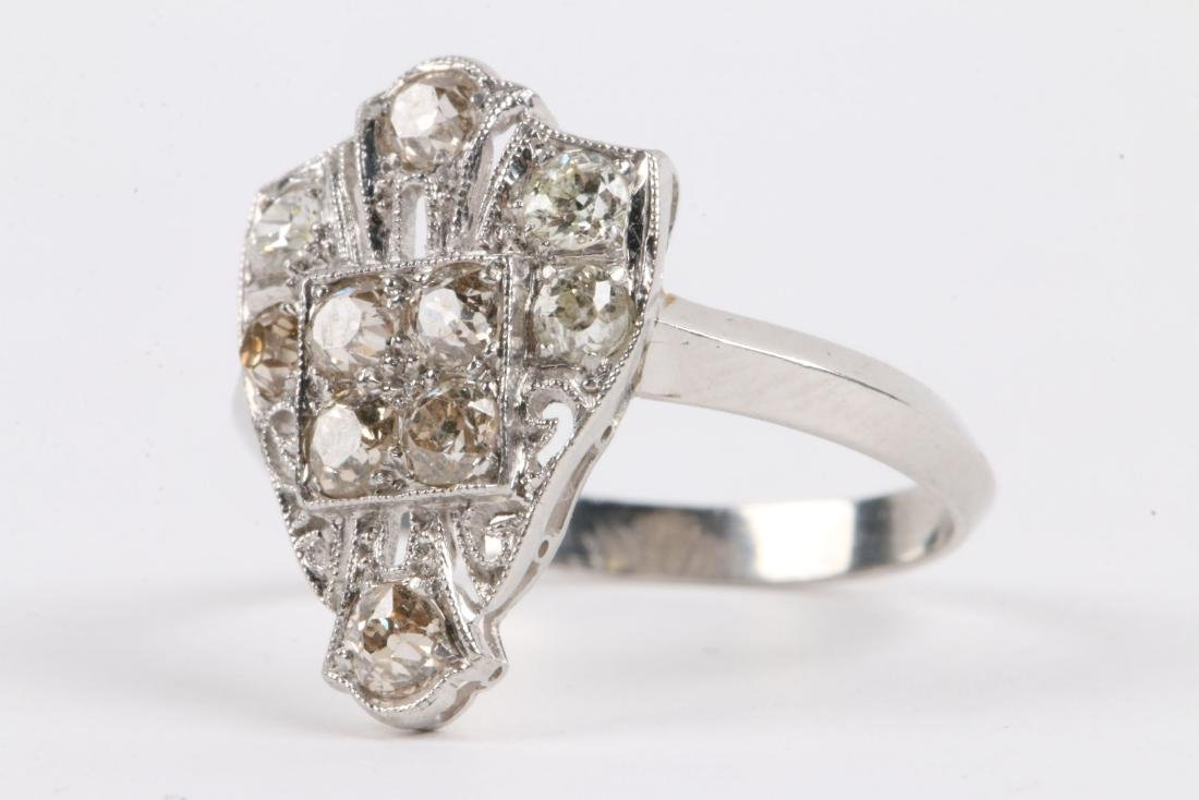 A Platinum & Old Mine Cut Diamond Ring - 2