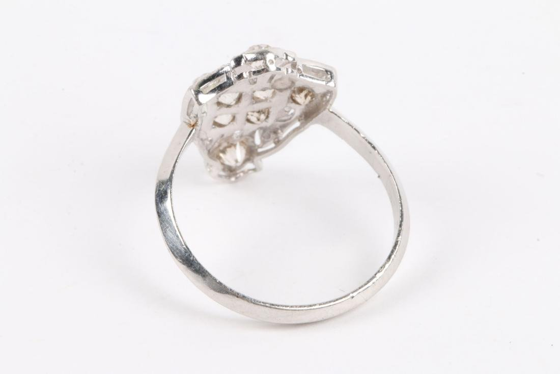 A Platinum & Old Mine Cut Diamond Ring - 5