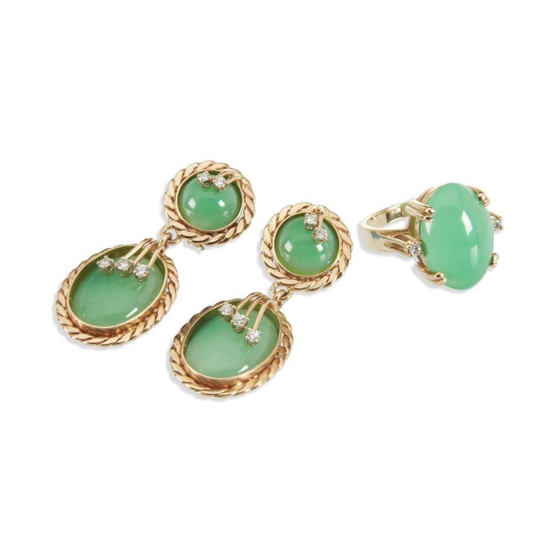 A 14K & Jade Ring & Earrings Set