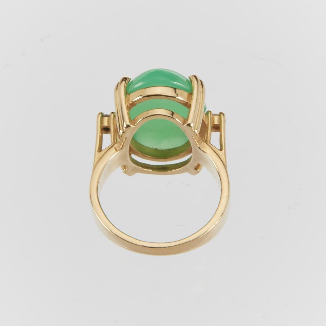 A 14K & Jade Ring & Earrings Set - 2