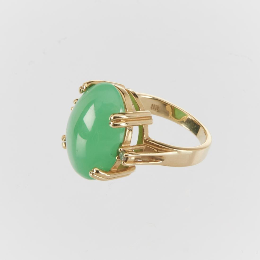 A 14K & Jade Ring & Earrings Set - 3