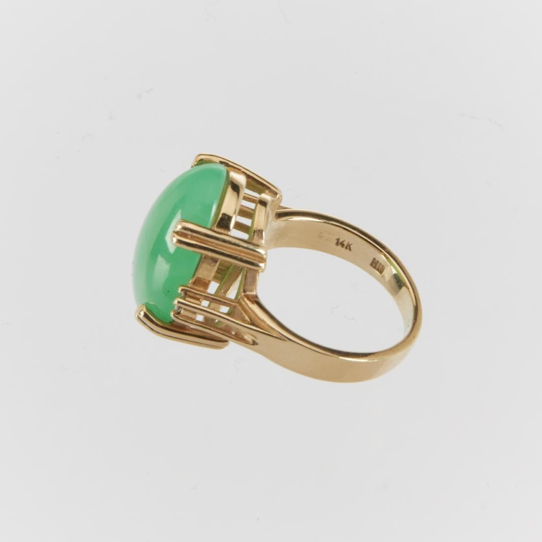 A 14K & Jade Ring & Earrings Set - 4