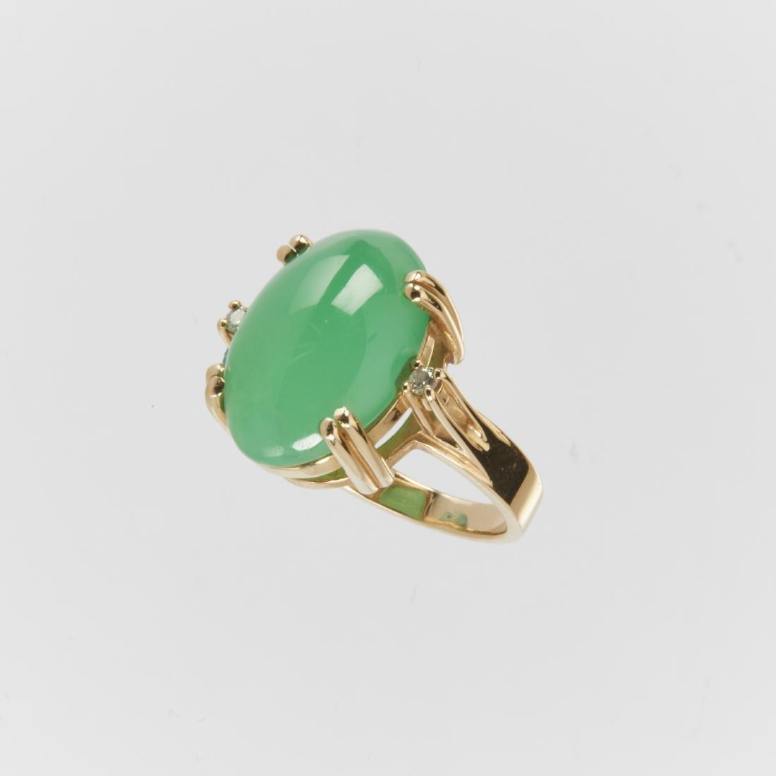 A 14K & Jade Ring & Earrings Set - 5