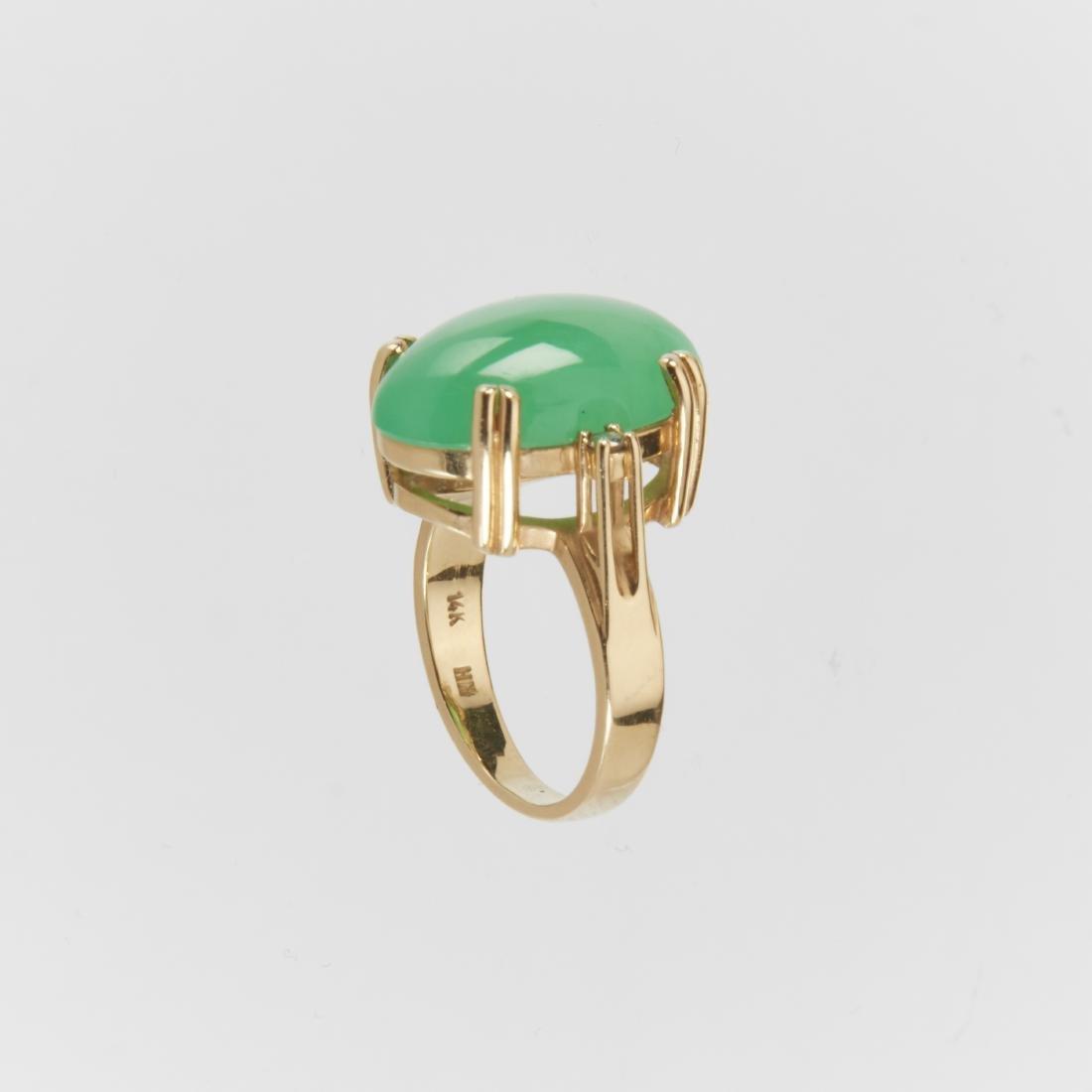 A 14K & Jade Ring & Earrings Set - 6