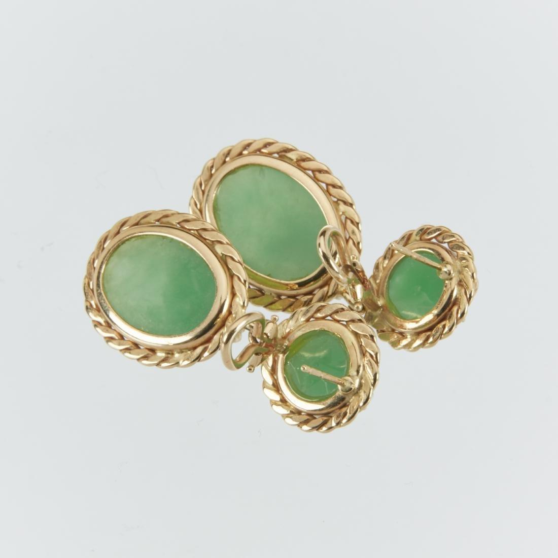 A 14K & Jade Ring & Earrings Set - 7