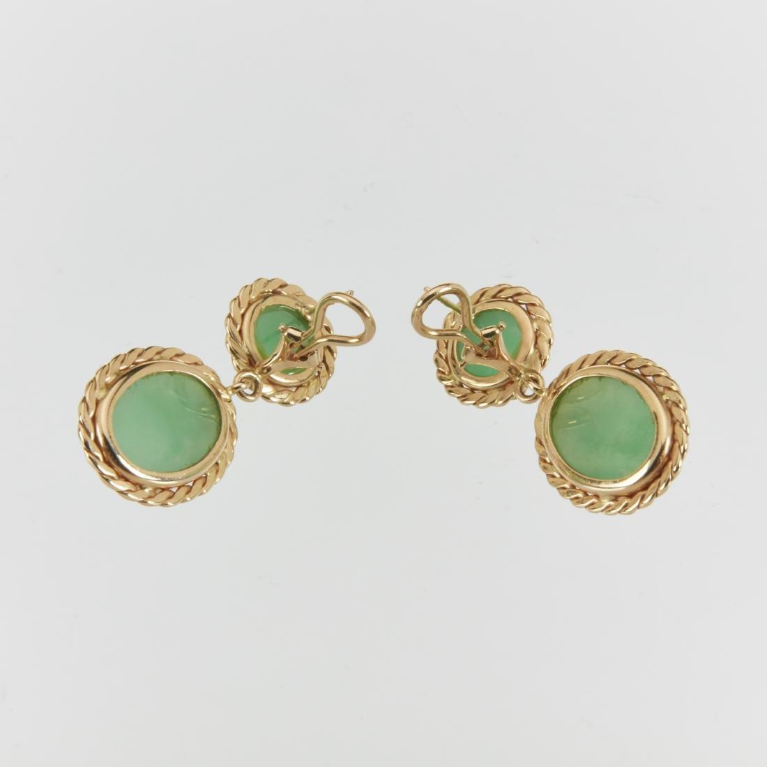 A 14K & Jade Ring & Earrings Set - 8