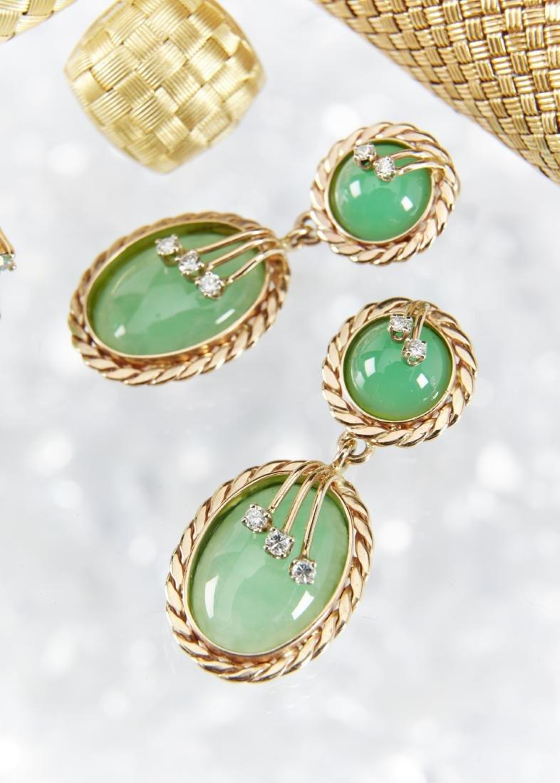 A 14K & Jade Ring & Earrings Set - 9