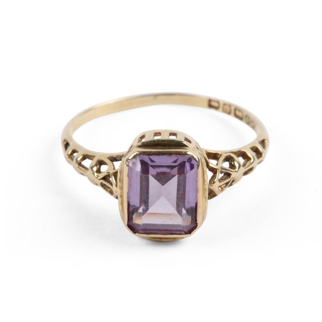 An Edwardian 10K Gold & Amethyst Ring