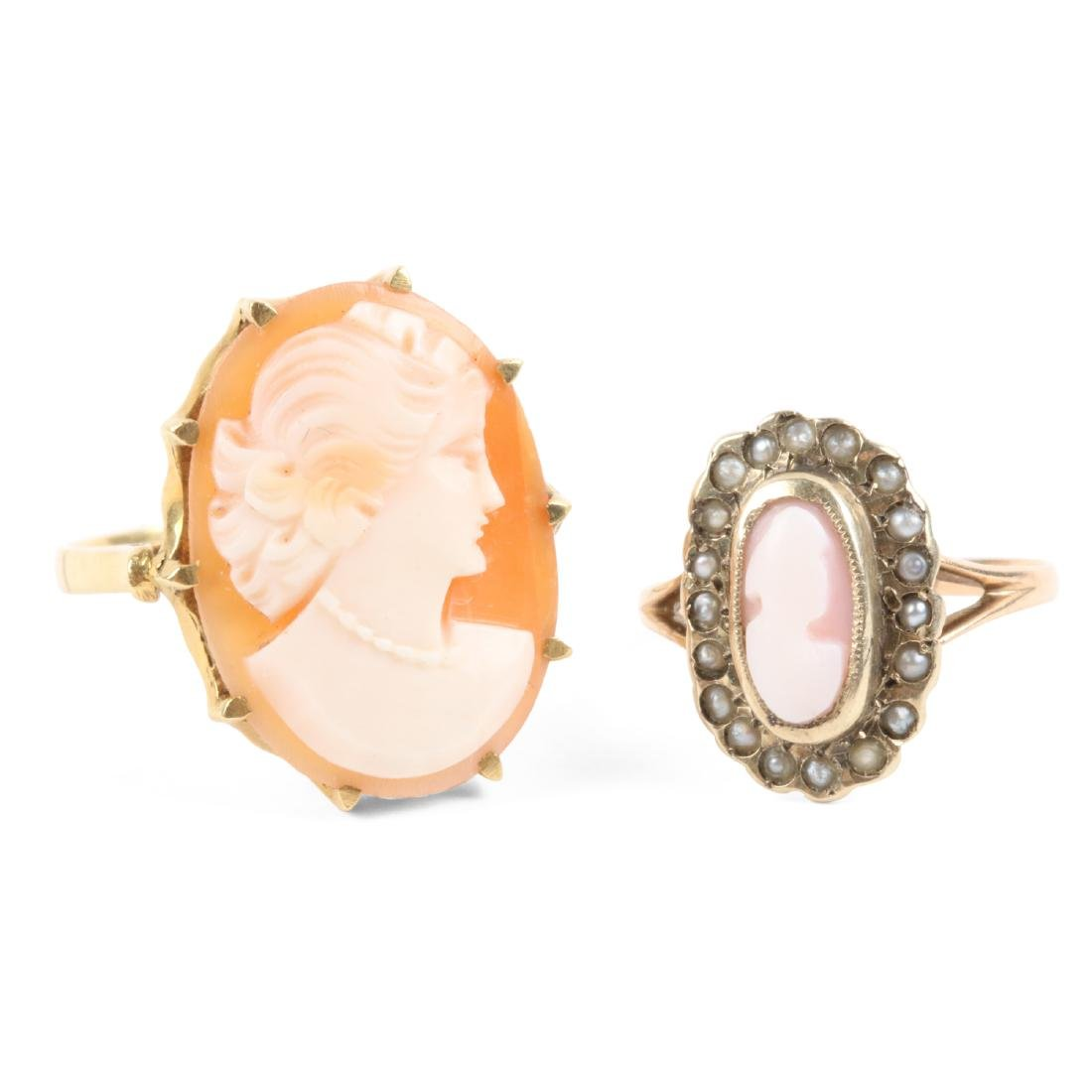 A Pair, 10K Gold, Seed Pearl Cameo Rings