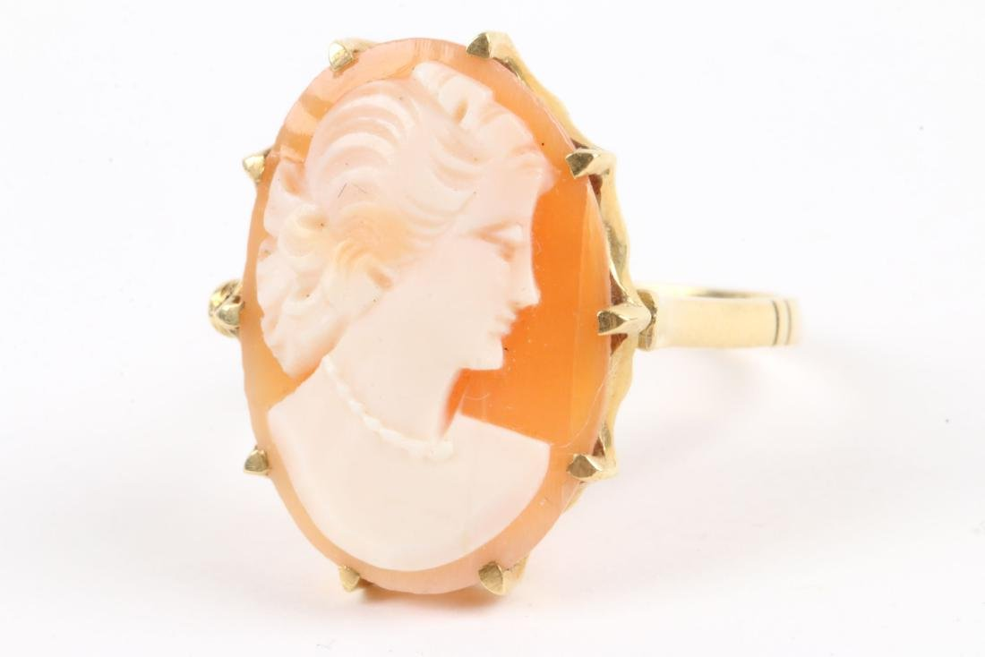 A Pair, 10K Gold, Seed Pearl Cameo Rings - 2
