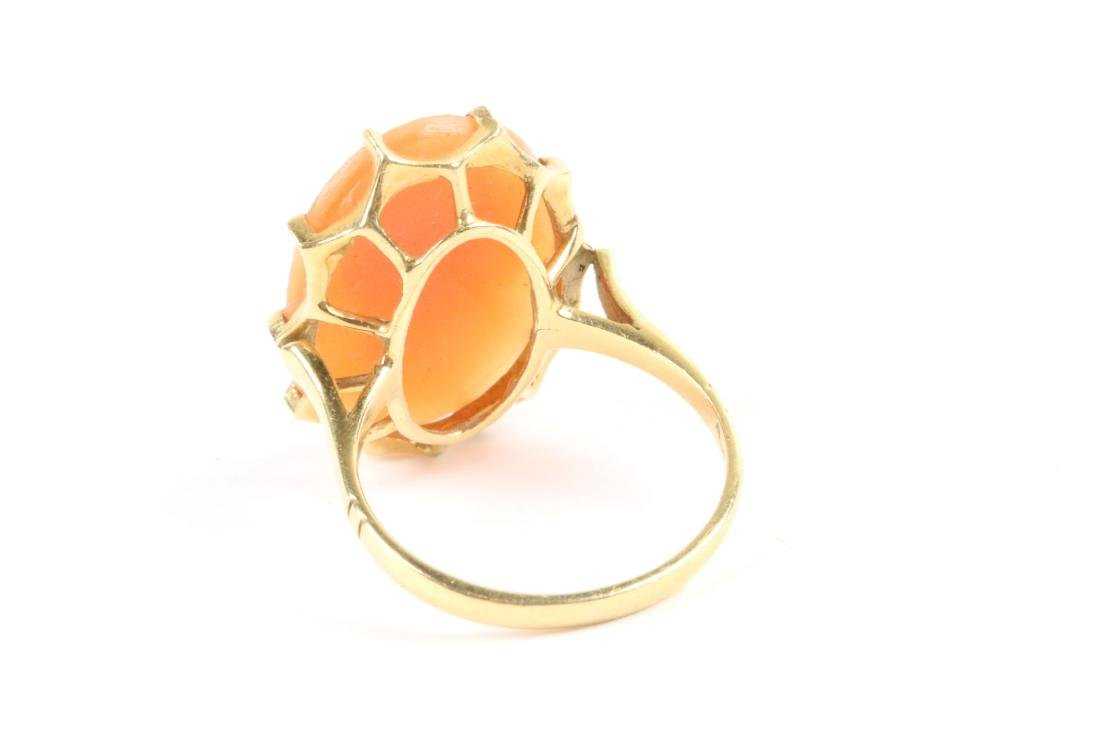 A Pair, 10K Gold, Seed Pearl Cameo Rings - 4