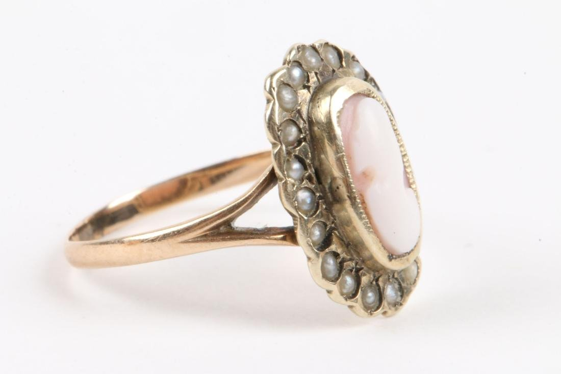 A Pair, 10K Gold, Seed Pearl Cameo Rings - 7