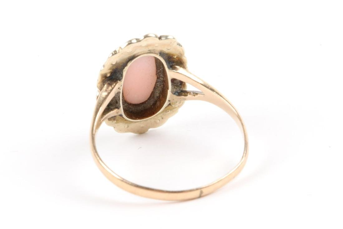 A Pair, 10K Gold, Seed Pearl Cameo Rings - 8