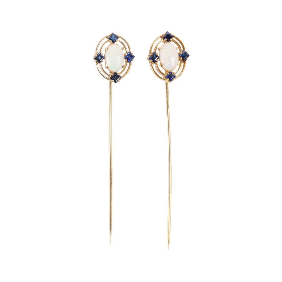 A Pair, Victorian 18K, Sapphire & Opal Stick Pins