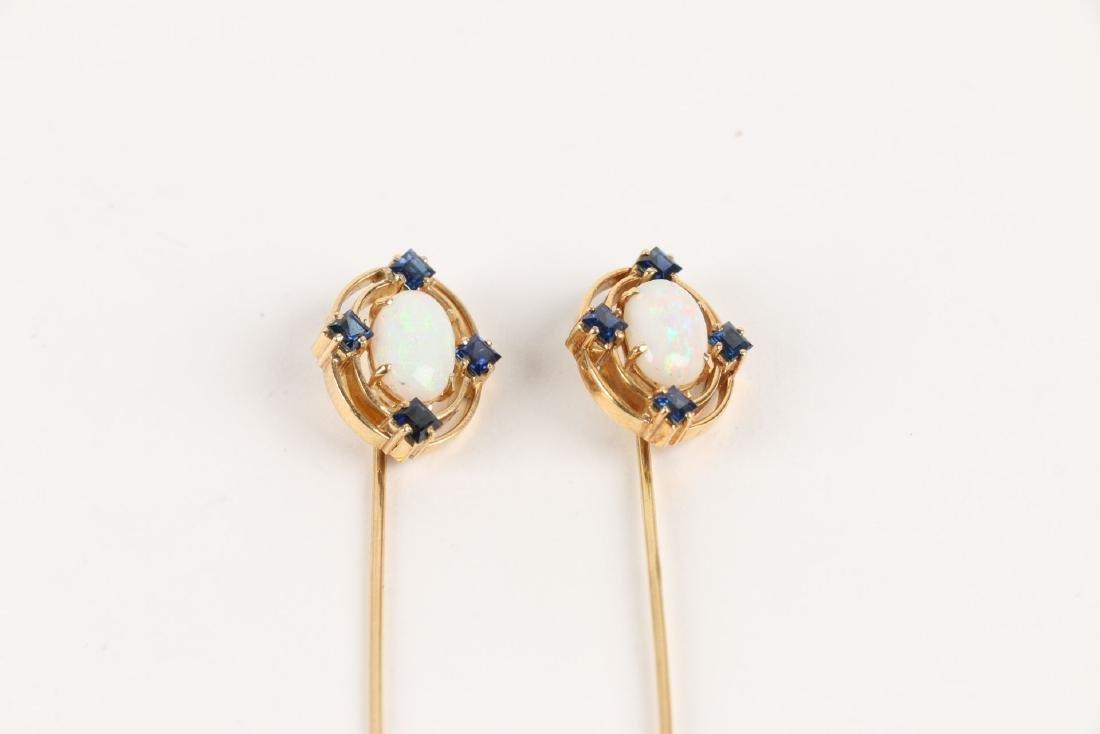 A Pair, Victorian 18K, Sapphire & Opal Stick Pins - 2