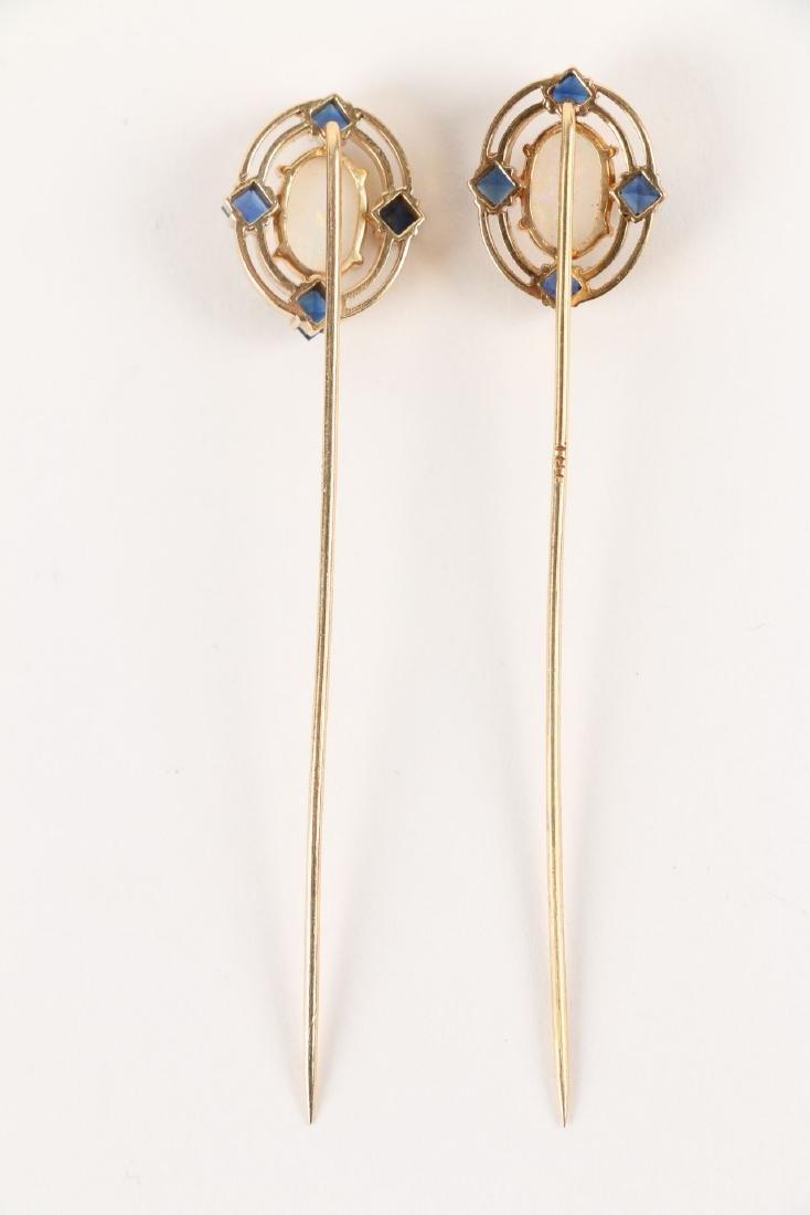 A Pair, Victorian 18K, Sapphire & Opal Stick Pins - 3