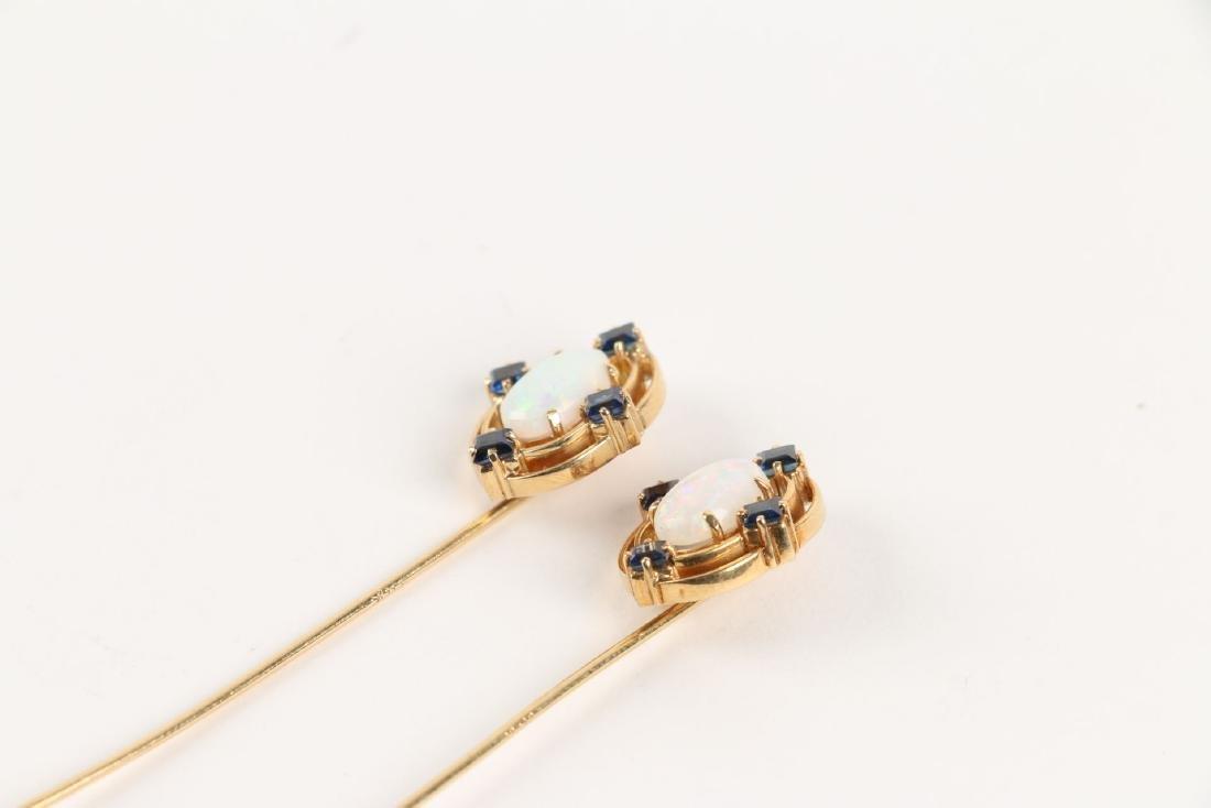 A Pair, Victorian 18K, Sapphire & Opal Stick Pins - 4