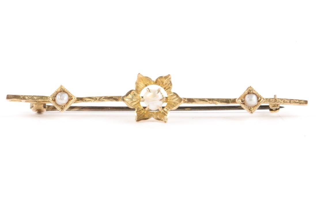 A Pair, Victorian Gold Amethyst, Pearl & Sapphire Bar - 10
