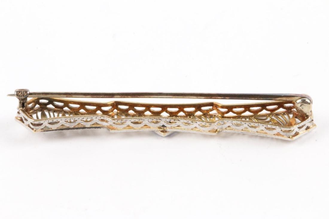 A Pair, Victorian Gold Amethyst, Pearl & Sapphire Bar - 4