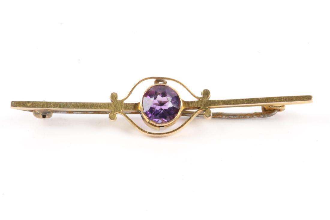 A Pair, Victorian Gold Amethyst, Pearl & Sapphire Bar - 6