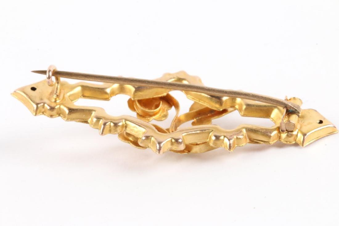 An English 9K Multi-Coloured Gold Bar Pin - 5