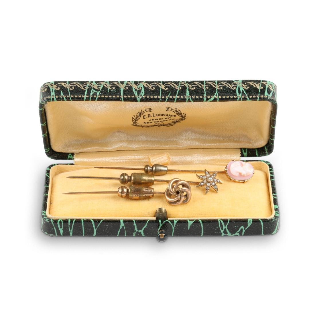 A Trio, 14K Gold, Seed Pearl & Cameo Stick Pins