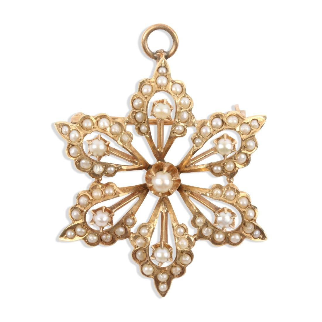 An Edwardian 14K Gold & Seed Pearl Brooch