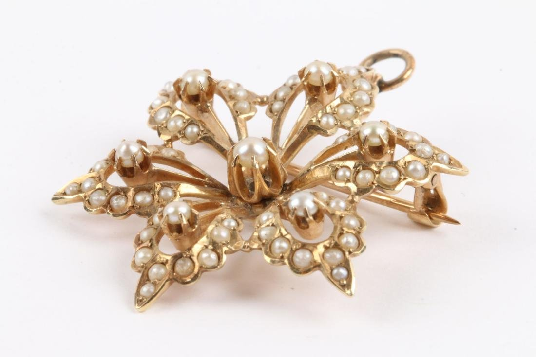 An Edwardian 14K Gold & Seed Pearl Brooch - 2