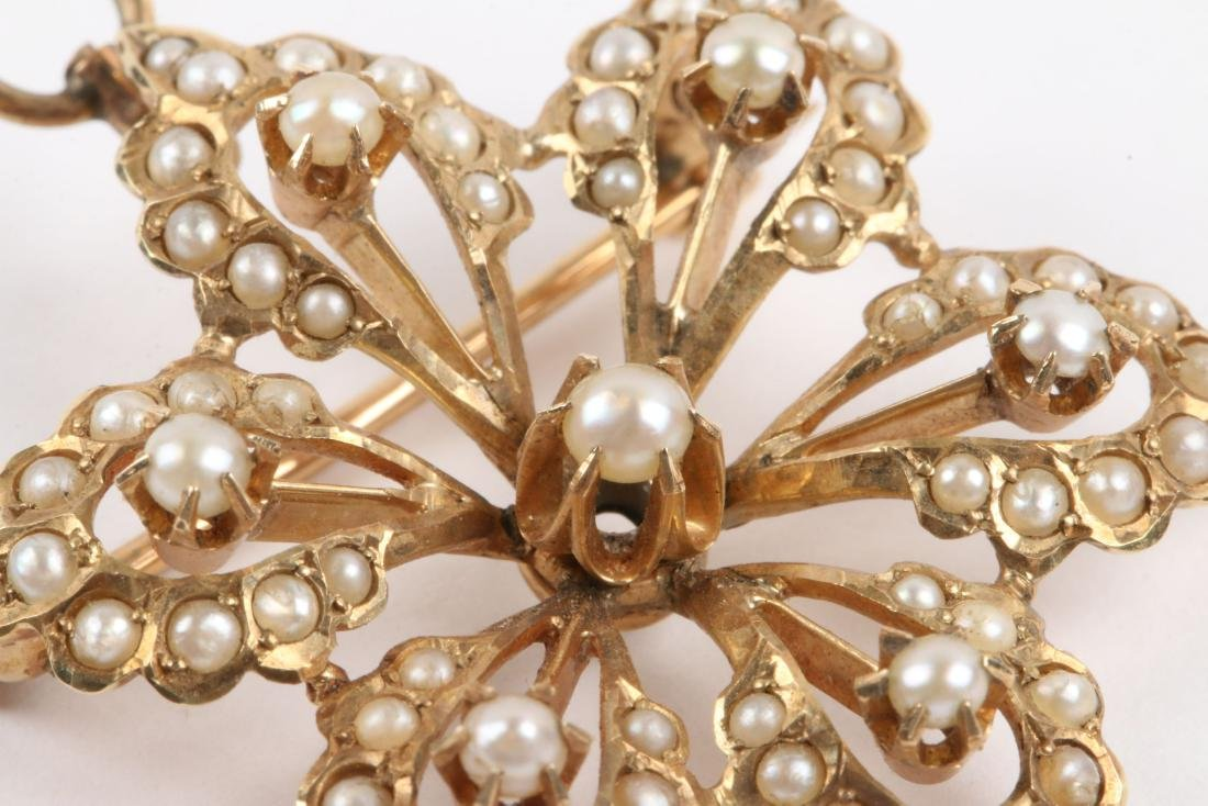 An Edwardian 14K Gold & Seed Pearl Brooch - 4