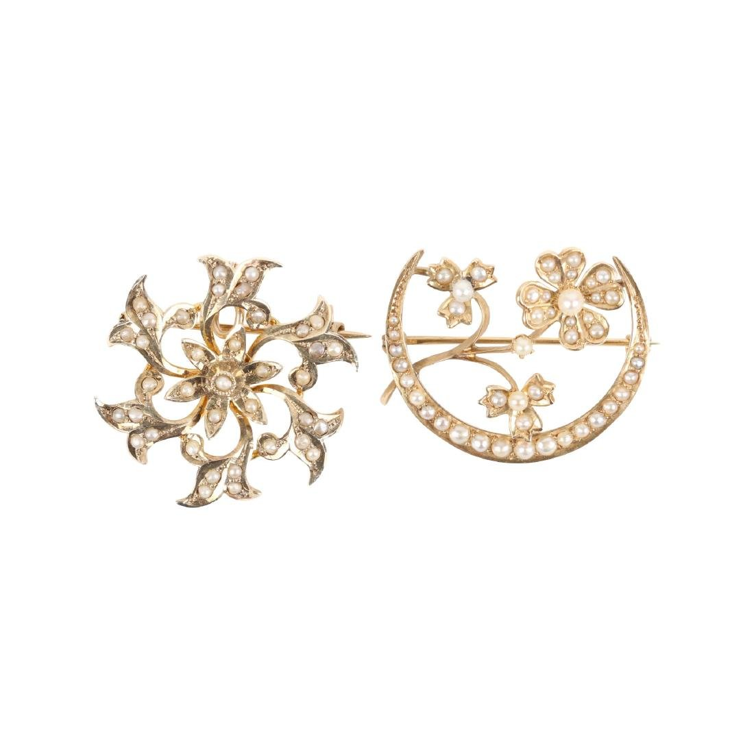 A Pair, Gold & Seed Pearl Brooches