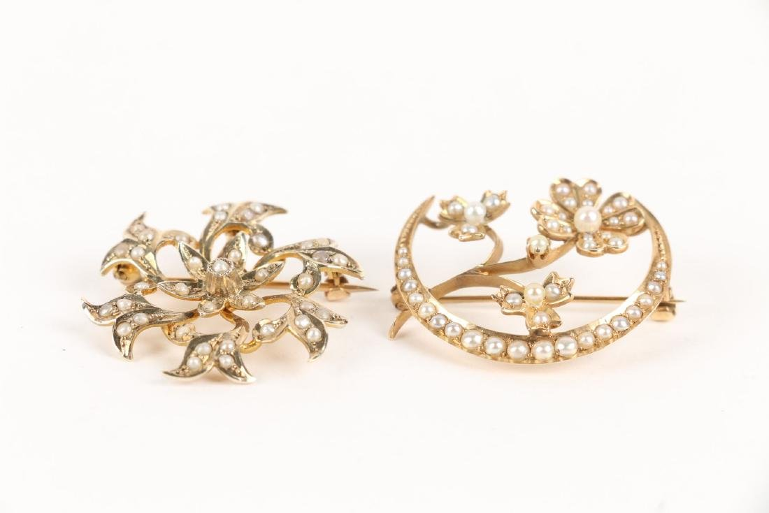 A Pair, Gold & Seed Pearl Brooches - 2