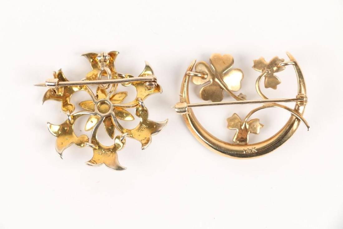A Pair, Gold & Seed Pearl Brooches - 3