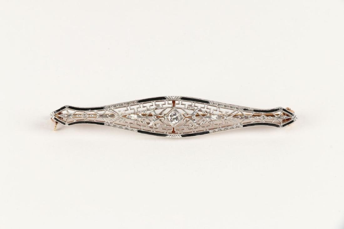 A Victorian Enameled 14K Filigree & Diamond Bar Pin - 2