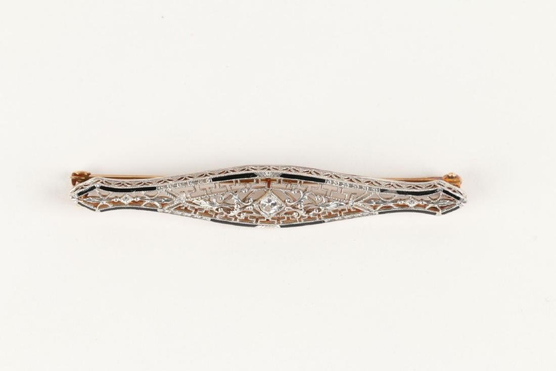 A Victorian Enameled 14K Filigree & Diamond Bar Pin - 3