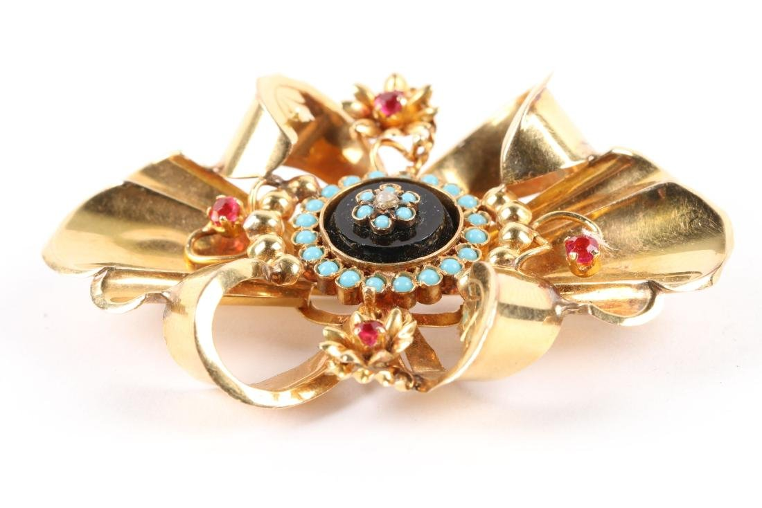 A Victorian 18K, Onyx, Turquoise & Tourmaline Brooch - 2