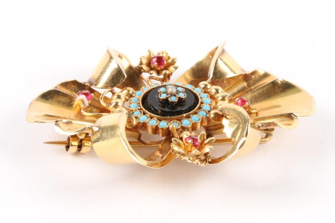 A Victorian 18K, Onyx, Turquoise & Tourmaline Brooch - 3