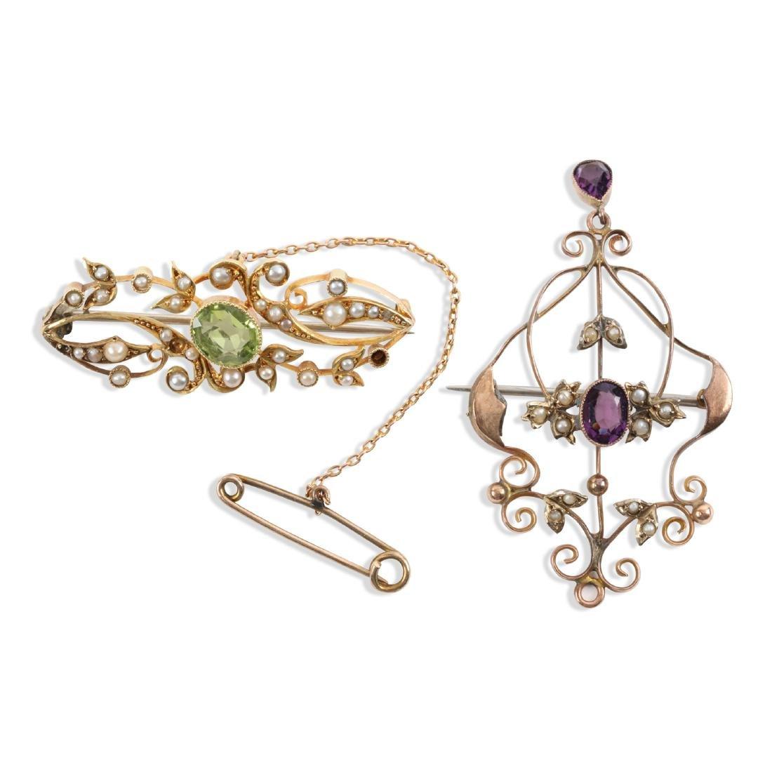 A Pair, Edwardian 15K, Amethyst & Seed Pearl Pendants