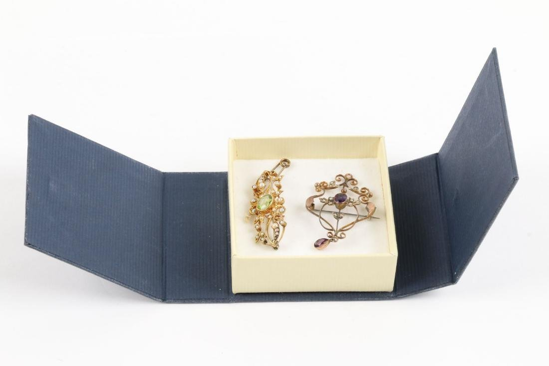 A Pair, Edwardian 15K, Amethyst & Seed Pearl Pendants - 8
