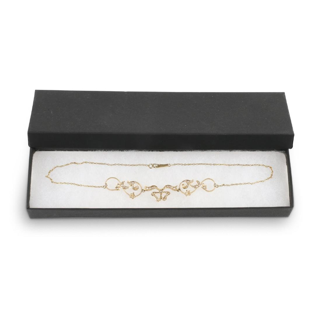 An Edwardian 14K Gold & Seed Pearl Necklace