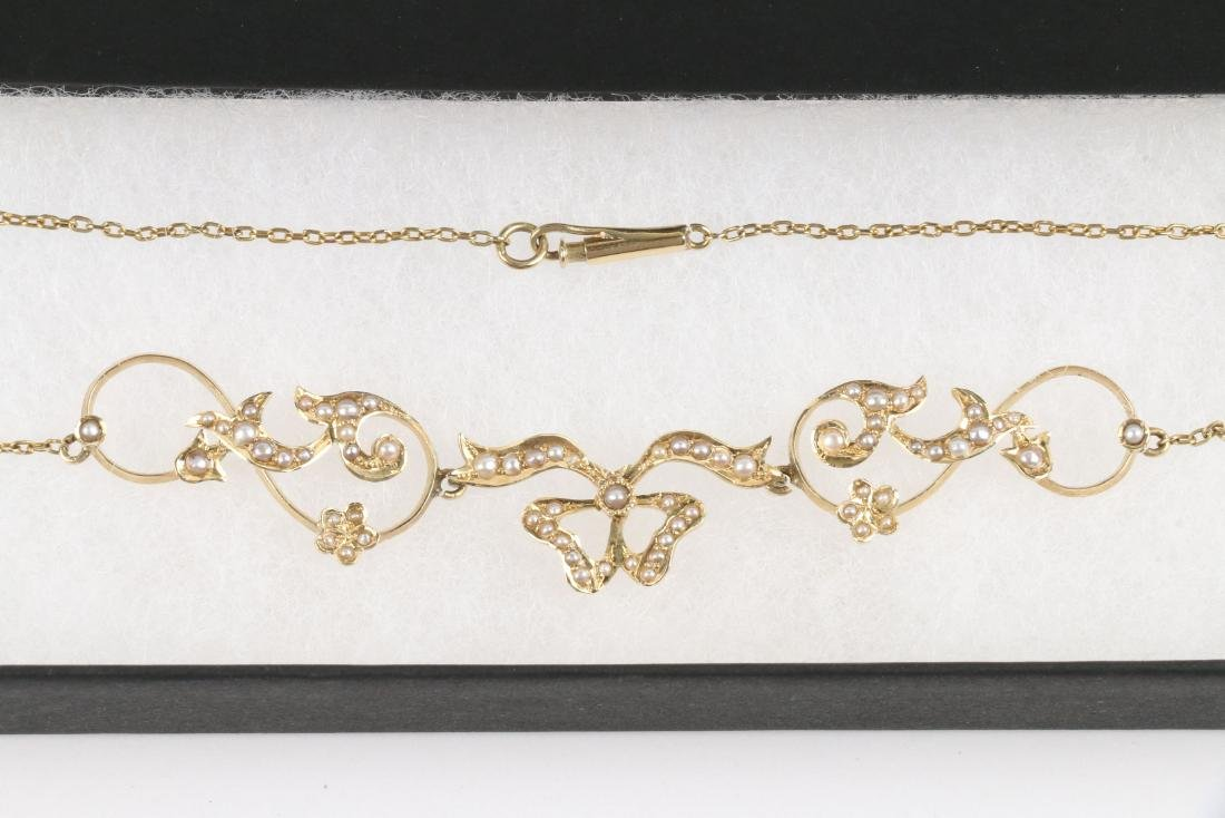 An Edwardian 14K Gold & Seed Pearl Necklace - 2