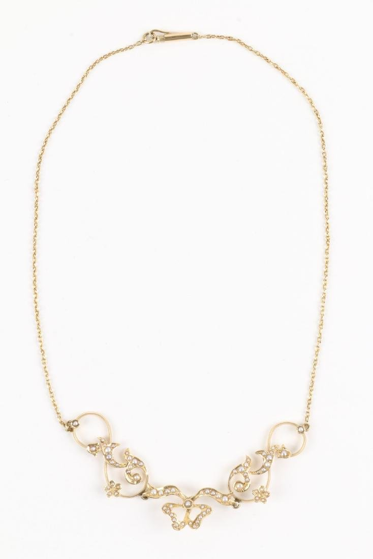 An Edwardian 14K Gold & Seed Pearl Necklace - 3