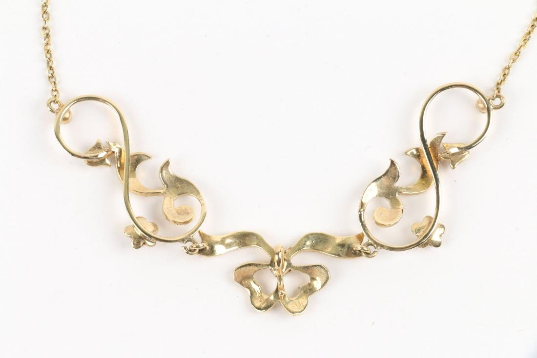 An Edwardian 14K Gold & Seed Pearl Necklace - 5