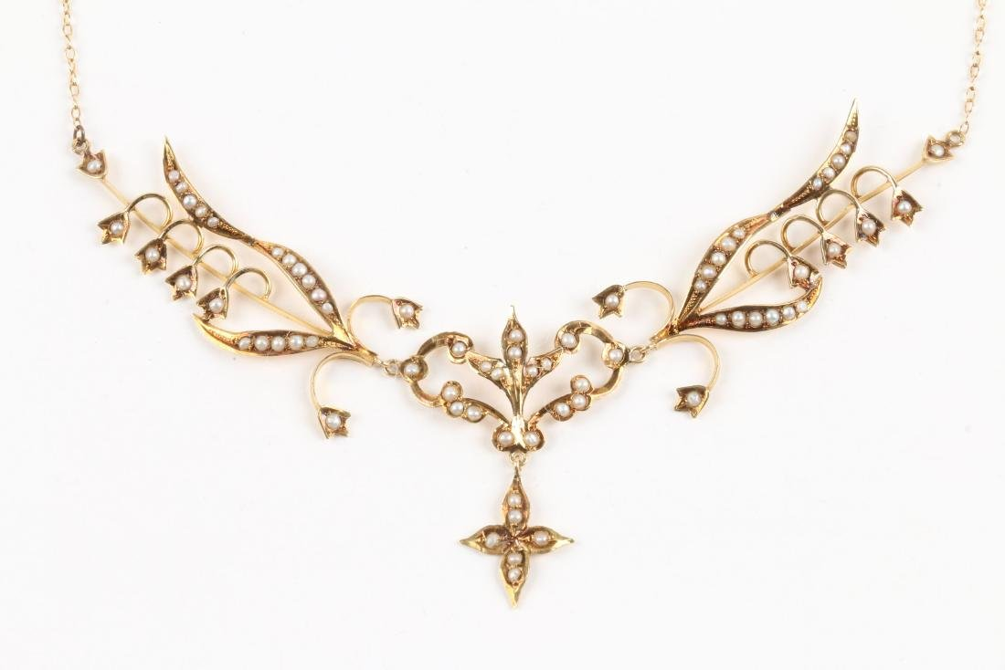 An Edwardian 14K Gold & Seed Pearl Necklace - 4