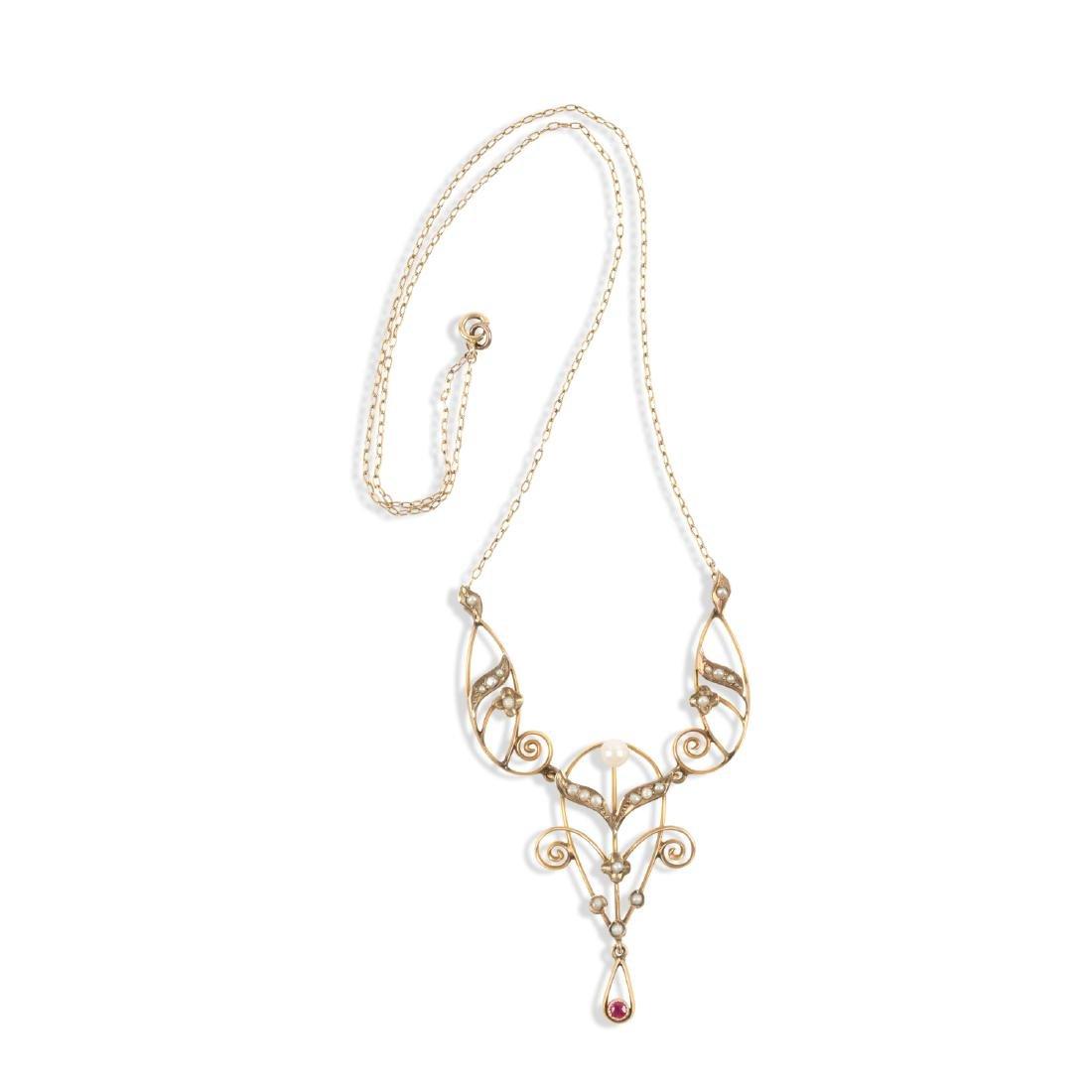 An Edwardian 10K, Pearl & Tourmaline Necklace