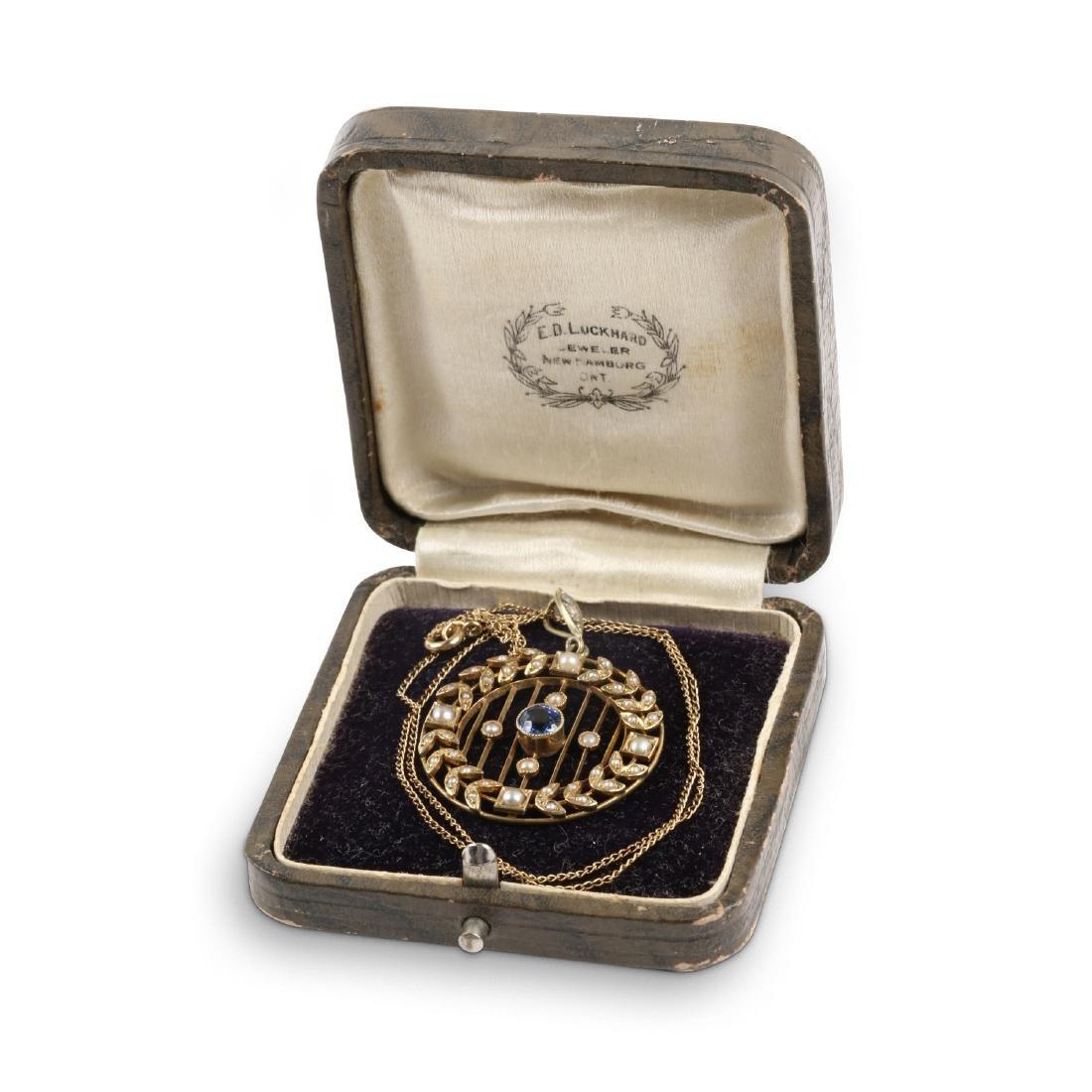 A Victorian 14K, Pearl & Sapphire Necklace, Pendant